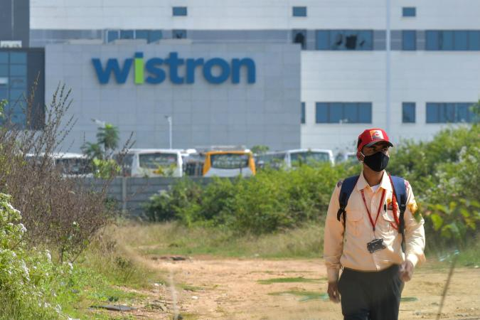 A view of Wistron, a Taiwanese-run iPhone factory, is seen at Narsapura, about 60 km from Bangalore on December 13, 2020. - Authorities vowed to crack down on workers who went on a violent rampage at a Taiwanese-run iPhone factory in southern India over allegations of unpaid wages and exploitation, with 100 people arrested so far. (Photo by Manjunath Kiran / AFP) (Photo by MANJUNATH KIRAN/AFP via Getty Images)