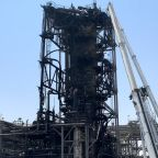 Saudi Arabia shows damage to Aramco oil facility