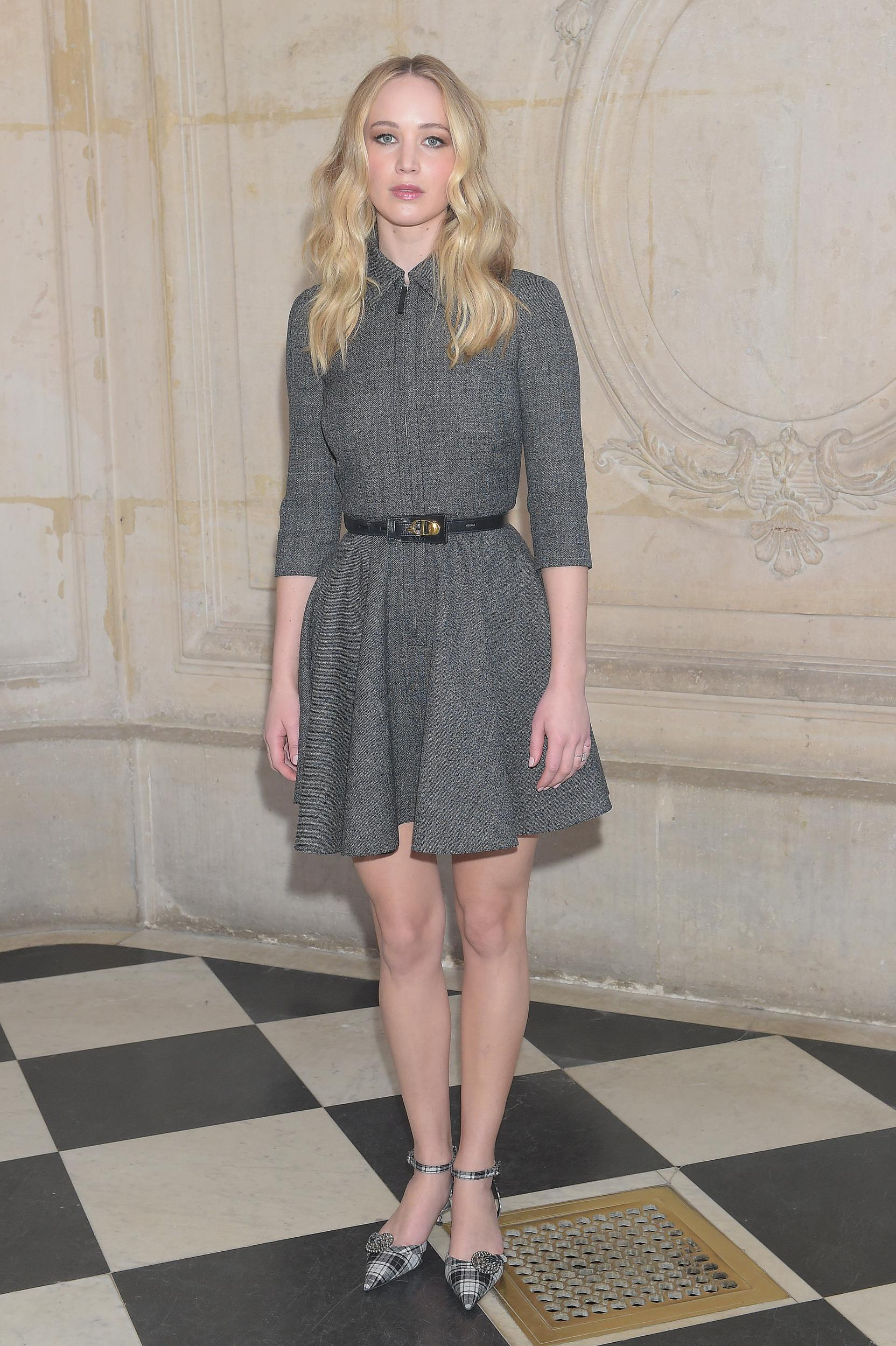 PARIS, FRANCE - FEBRUARY 26: Jennifer Lawrence attends the Christian Dior show as part of the Paris Fashion Week Womenswear Fall/Winter 2019/2020 on February 26, 2019 in Paris, France. (Photo by Dominique Charriau/WireImage)