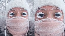 These frozen eyelashes aren't makeup — they're just actually frozen
