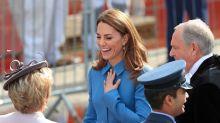 Duchess of Cambridge wears McQueen in Birkenhead to visit RSS Sir David Attenborough