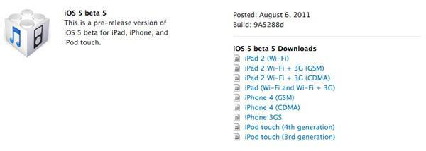 iOS 5 beta 5 already ready for your downloading pleasure