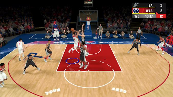 A screenshot of gameplay from NBA 2K22 Arcade Edition.
