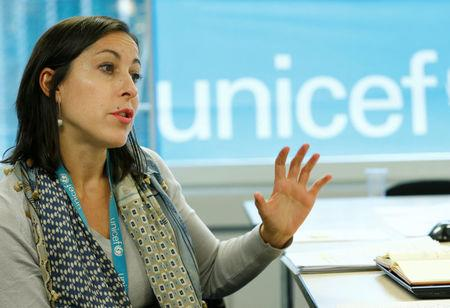 Relano, UNICEF Yemen Representative, attends an interview with Reuter in Geneva