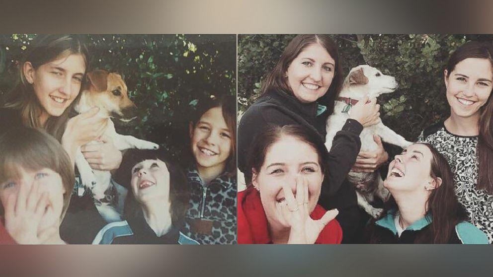 Sisters Recreate Childhood Photo With Beloved Dog Before He Passes Away