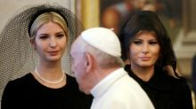 Melania and Ivanka Trump respectfully wear veils to meet the Pope