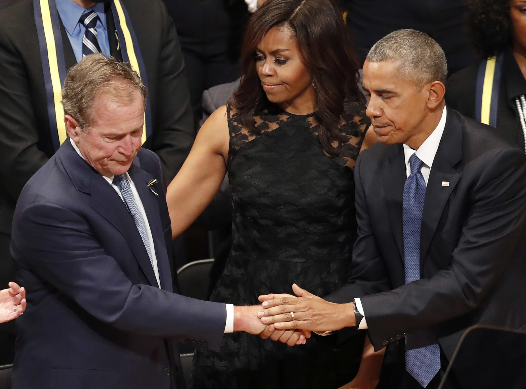 See Throwback Photo of Obamas Consoling George W. Bush as His Dad Is Hospitalized