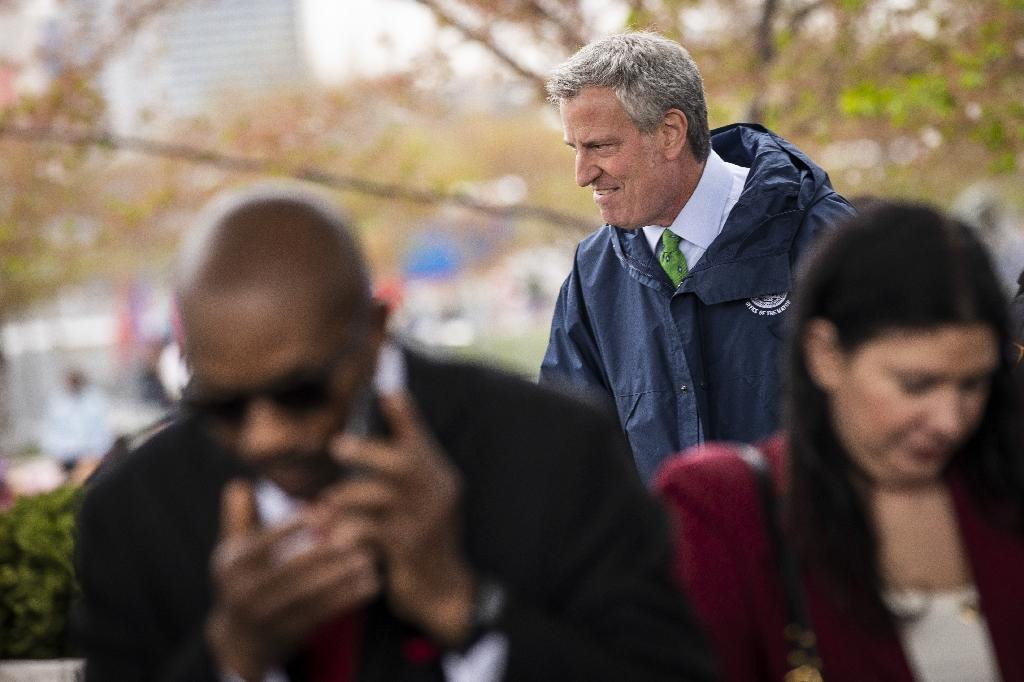 New York Mayor Bill de Blasio arrives at a press conference about the city's strategy to respond to climate change on April 22, 2019