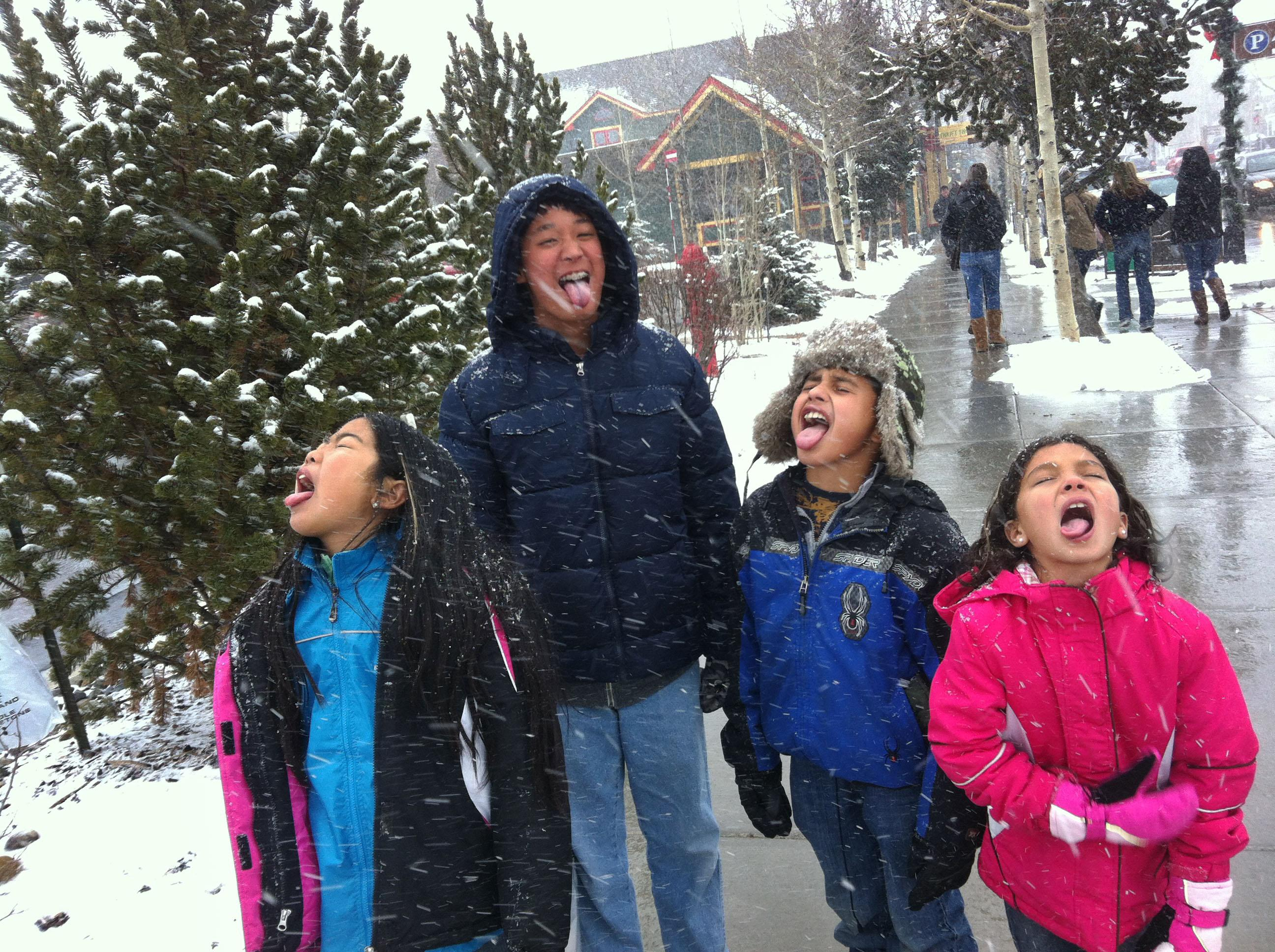 """In this November 2012 photo provided by the family, adopted siblings, from left, Anna Rosati, 12, Daniel, 13, Joshua, 11, and Hope, 9, play in the snow in Breckenridge, Colo. Their adoptive mother, Kelly Rosati, a vice president with the Focus on the Family group, says, """"Our focus is kids who need families, not families who need kids."""" She and her husband, adopted the four children from foster care in Hawaii. (AP Photo/Kelly Rosati)"""
