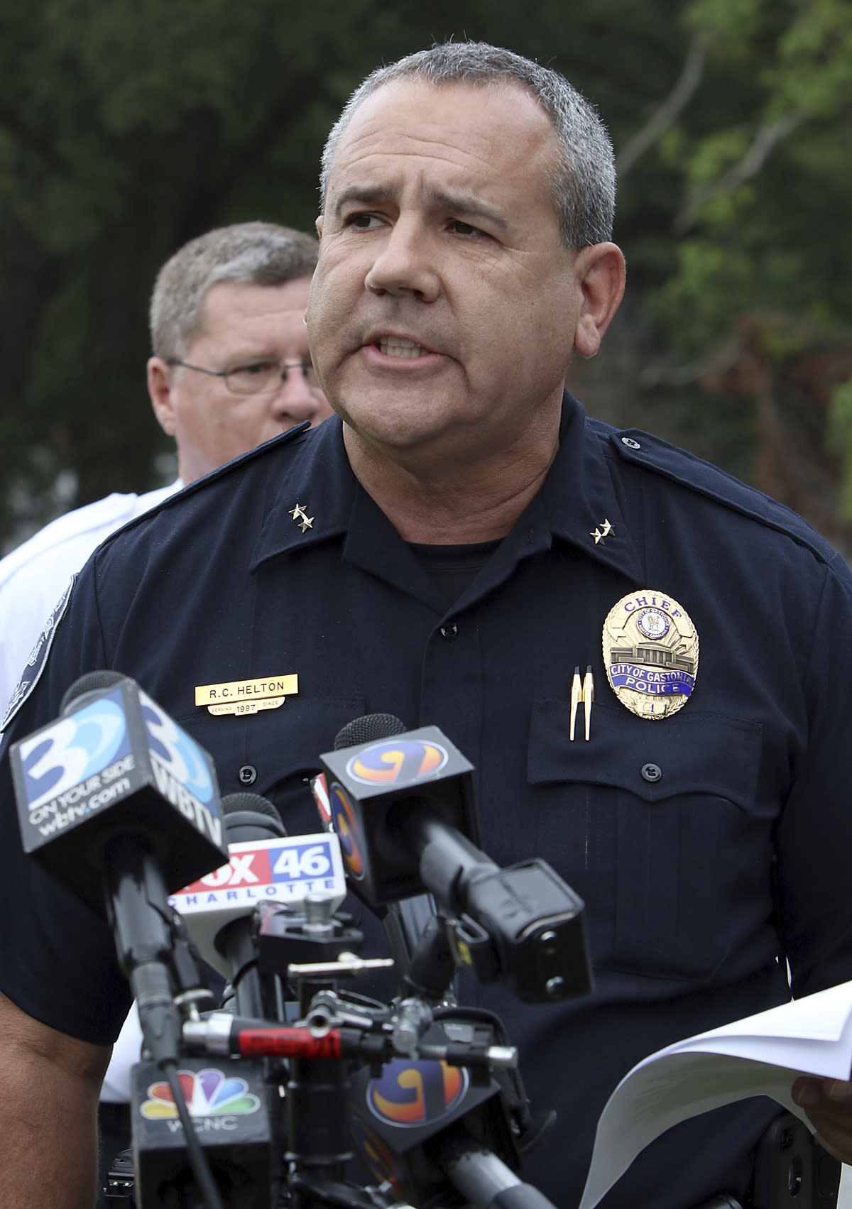 City of Gastonia Police Chief R. C. Helton talks about the progress that is being made during a press conference near Rankin Lake Park as the search continues for missing six-year-old Maddox Ritch Monday, Sept. 24, 2018 in Gastonia, NC. Maddox Ritch went missing early Saturday afternoon while walking in the park with his family. (Mike Hensdill/The Gaston Gazette via AP)
