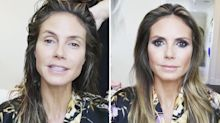 Heidi Klum's candid beauty transformation shows the difference make-up makes