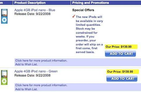 4GB iPod nano 4Gs show up on Best Buy's Canadian site