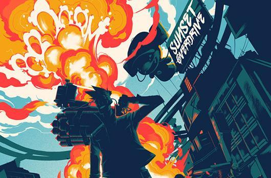 Poster maestros Mondo debut stylized Sunset Overdrive art