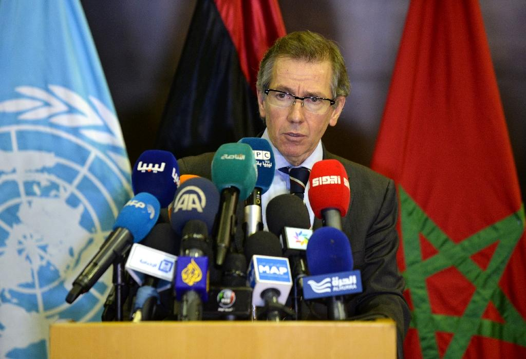 UN special envoy for Libya, Bernardino Leon speaks at a press conference during a new round of peace talks on the Libyan conflict on September 12, 2015, in the Moroccan city of Skhirat (AFP Photo/Fadel Senna)