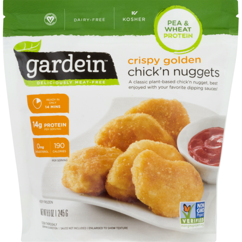 "<p><strong>Gardein</strong></p><p>instacart.com</p><p><strong>$4.49</strong></p><p><a href=""https://go.redirectingat.com?id=74968X1596630&url=https%3A%2F%2Fwww.instacart.com%2Fproducts%2F20399526-gardein-chick-n-nuggets-vegan-crispy-golden-pouch-8-6-oz&sref=https%3A%2F%2Fwww.goodhousekeeping.com%2Ffood-recipes%2Fg32733789%2Fbest-meat-substitutes%2F"" rel=""nofollow noopener"" target=""_blank"" data-ylk=""slk:Order Now"" class=""link rapid-noclick-resp"">Order Now</a></p><p>Who doesn't love a good nugget every now and then? Vegan and vegetarian Chik'n has proliferated frozen aisles of supermarkets (<a href=""https://eatnuggs.com/buy"" rel=""nofollow noopener"" target=""_blank"" data-ylk=""slk:and even launched online!"" class=""link rapid-noclick-resp"">and even launched online!</a>), but we're soft on The Alpha Nugget for its reduced fat and sodium counts. Look for chicken substitutes containing wholesome ingredients like wheat protein, corn flour, soybean oil, and all kinds of spices. You can use this faux chicken in <a href=""https://www.goodhousekeeping.com/food-recipes/healthy/g2128/summer-salads/"" rel=""nofollow noopener"" target=""_blank"" data-ylk=""slk:things like salads"" class=""link rapid-noclick-resp"">things like salads</a>, wraps, or even whole patties in sandwiches throughout the work week.</p>"