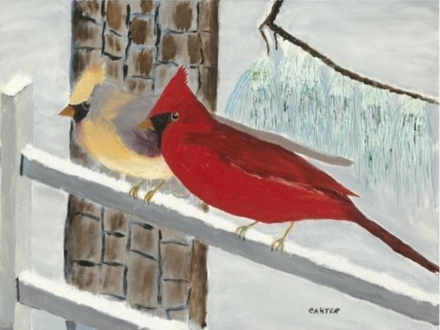 """An original oil painting, entitled """"Cardinals,"""" was painted by former President Jimmy Carter in 2018."""