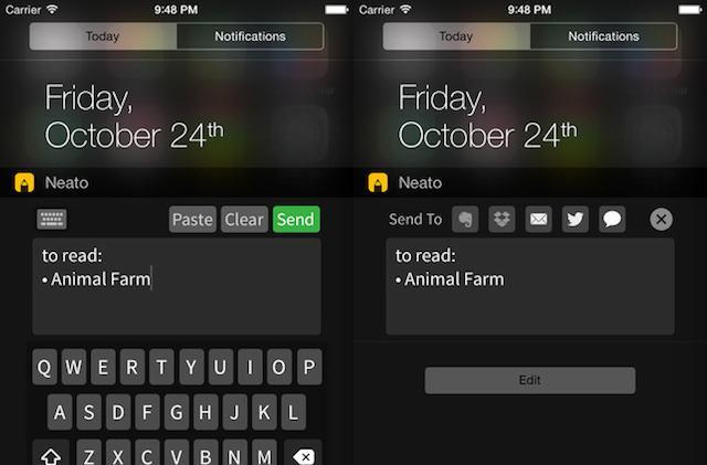 Neato lets you take notes, send messages, and more from your iOS 8 widgets