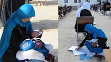 Viral photo of Afghan mother caring for her baby while taking a college exam is so inspiring