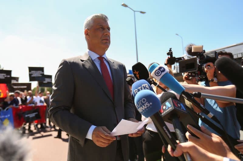 Kosovo's President Hashim Thaci speaks to members of the media before being interviewed by war crimes prosecutors after being indicted by a special tribunal, in The Hague