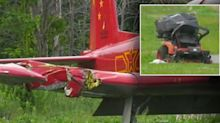 Woman mowing lawn hit and killed by landing plane