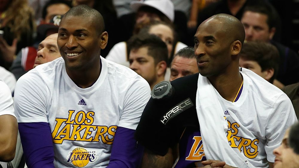Lakers give Metta World Peace a Kobe Bryant-style farewell — sort of