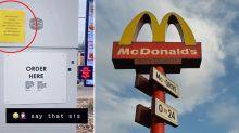 Brutal sign spotted at McDonald's drive-thru