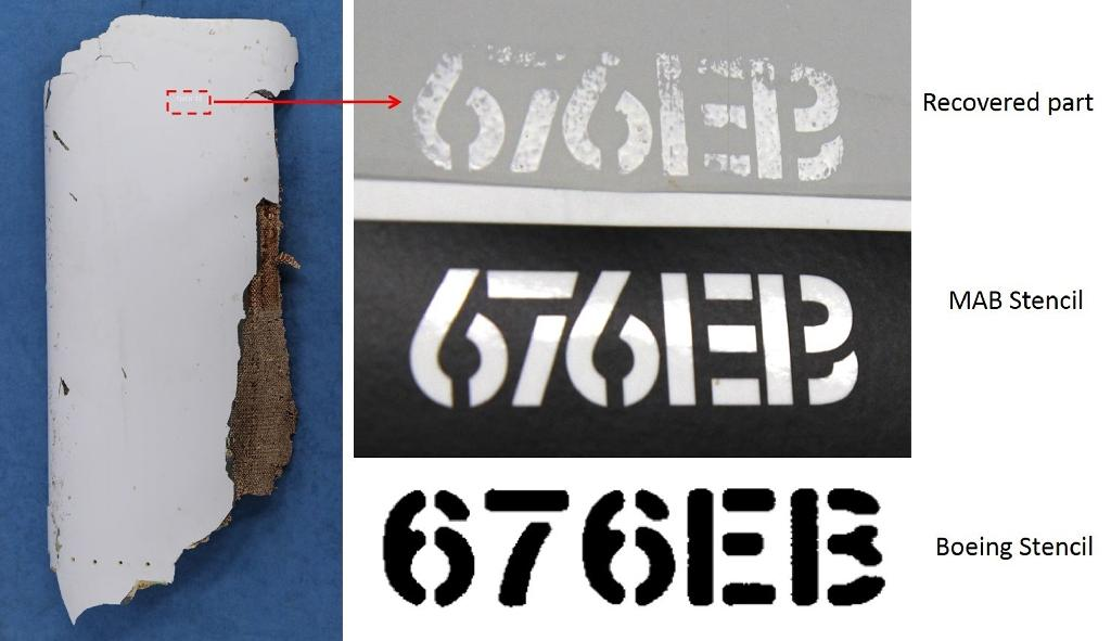 A piece of debris (L) that was found on a Mozambique beach and has since been found to be 'almost certainly' from the missing flight MH370, seen next to comparisons of Boeing stencilling and Malaysia Airlines ones (AFP Photo/-, Australian Transport and Safety Bureau)