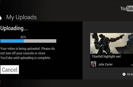 Xbox One now shares gameplay footage direct to YouTube