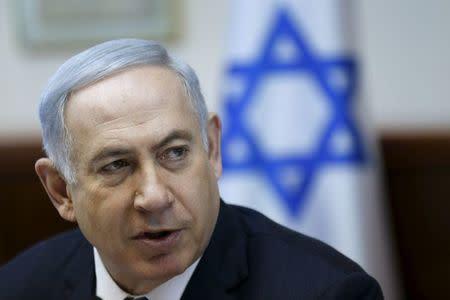 Israeli Prime Minister Netanyahu attends the weekly cabinet meeting in Jerusalem