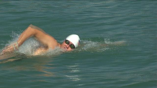 Cop Swims Miles In Honor of Fallen Officers