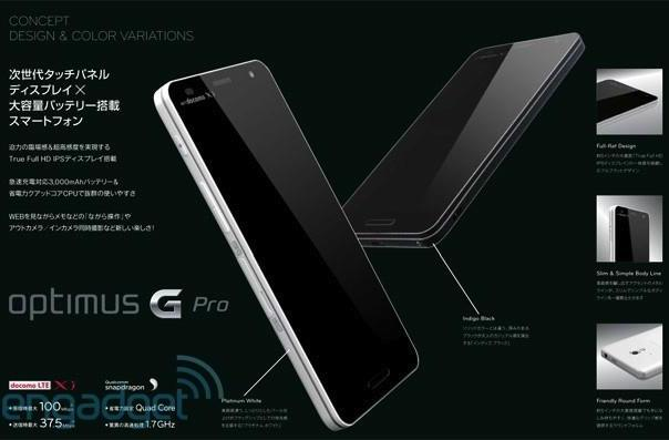 LG's Optimus G Pro revealed in leaked image with 5-inch 1080p display, 3,000mAh battery and LTE