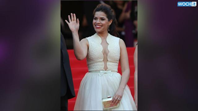 A Guy Ducked Under America Ferrera's Dress On The Red Carpet At Cannes--Yes, While She Was Wearing It!