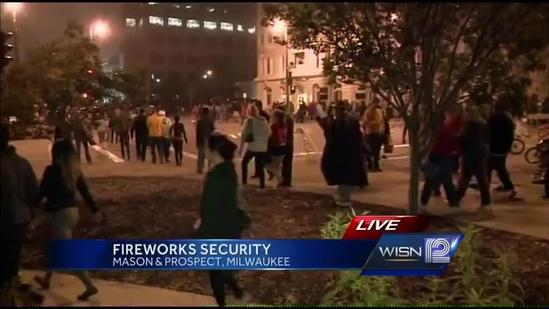 Police monitoring crowds at lakefront fireworks