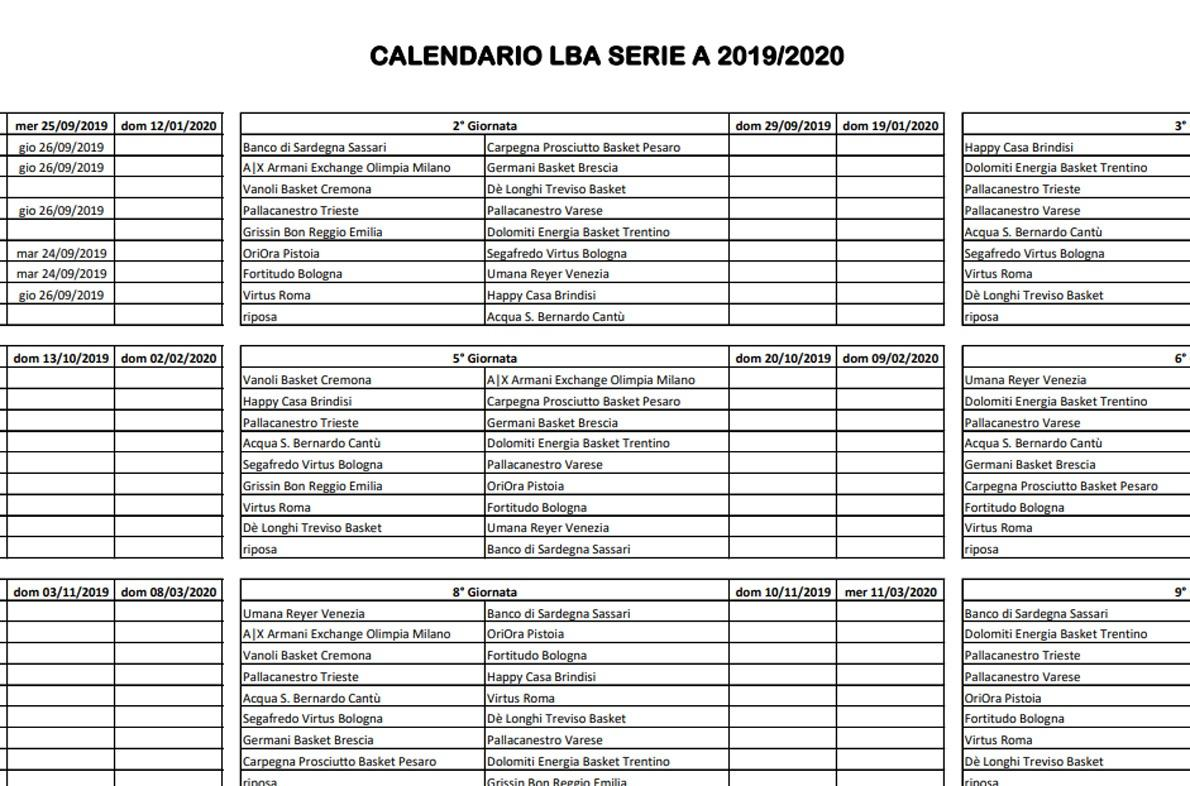 Marika Fruscio Calendario 2020 2020.Calendario Serie A Basket 2020