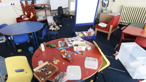 Heartless Yobs Smash Up Primary School, Leaving No Room Untouched