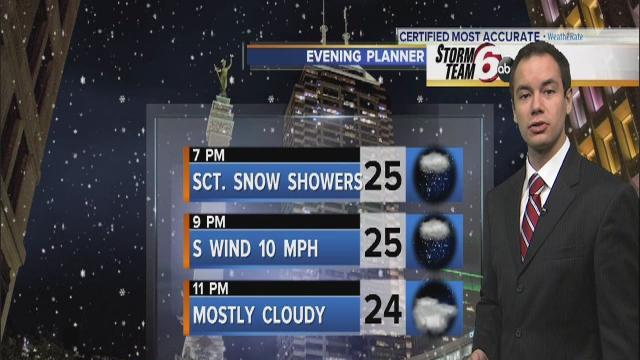 Saturday Night: Evening snow, then mostly cloudy...18