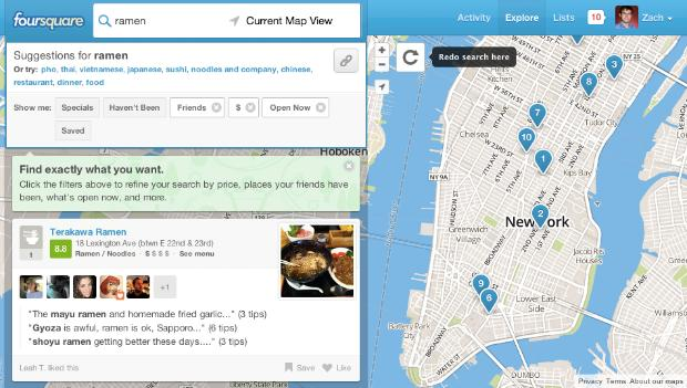 Foursquare's website now lets you sort businesses by price, hours and check-ins