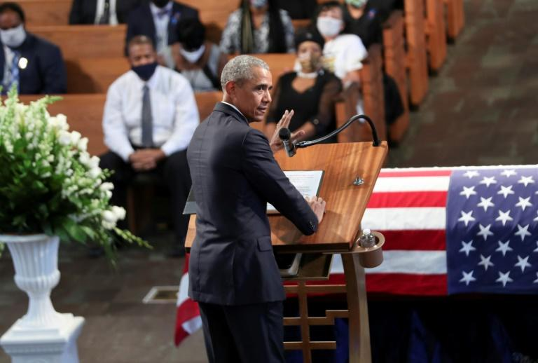 Former US President Barack Obama directed sharp criticism at President Donald Trump during a eulogy for the late civil rights leader John Lewis (AFP Photo/Alyssa Pointer)