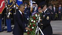 Obama lays wreath to honor veterans