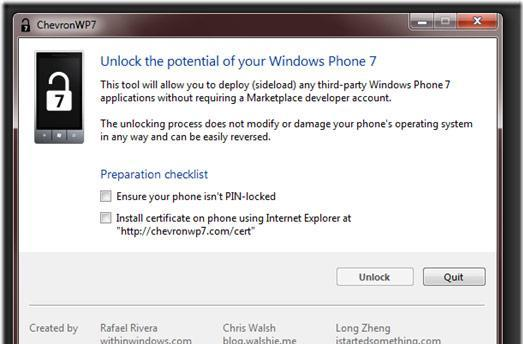ChevronWP7 Labs to unlock your Windows Phone 7 handset for $9, hackers not welcome