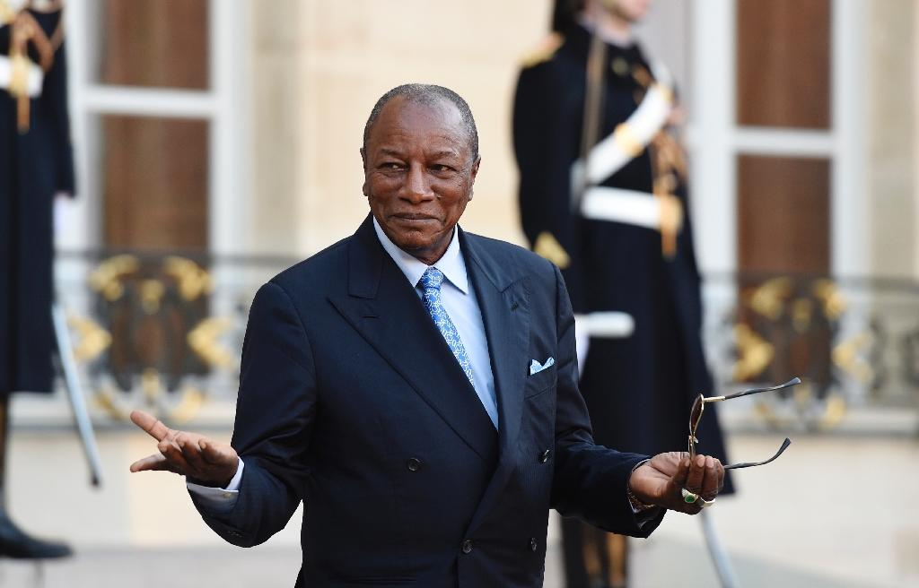 Guinean President Alpha Conde, pictured here in Paris on October 26, 2015, was re-elected in a controversial landslide vote last month with 57.84 percent of the vote, dismissing opposition claims of vote rigging and fraud in the contested polls