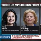 U.K.'s May Suffers First Brexit Defections as Three Tories Quit