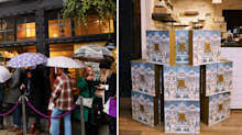 Customers brave the rain to queue for Liberty's £215 beauty advent calendar