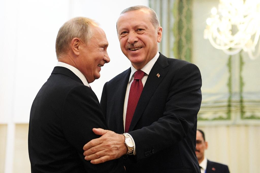 Russian President Vladimir Putin and his Turkish counterpart Recep Tayyip Erdogan, pictured on September 7, will meet in Sochi on Monday