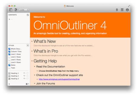 Omni Group starts shipping OmniOutliner 4