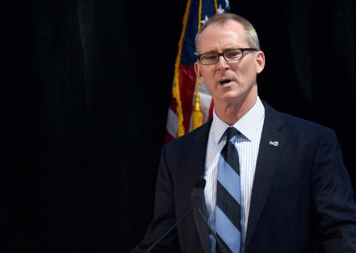 BOSTON, MA - MAY 03: Former U.S. Congressman Bob Inglis receives the 2015 John F. Kennedy Profile in Courage Award (R-SC) for the political courage he demonstrated when he reversed his previous position on climate change and acknowledging the scientific reality of atmospheric warning thereby jeopardizing his political career and causing him to lose his 2010 re-election, at The John F. Kennedy Presidential Library And Museum on May 3, 2015 in Boston, Massachusetts.