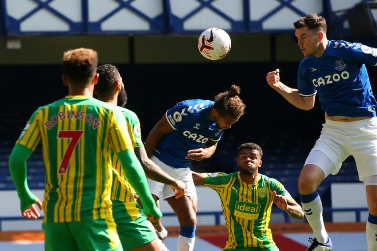 Dominic Calvert-Lewin heads in Everton's fifth goal