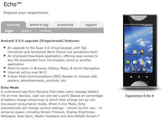 Kyocera Echo Gingerbread update bringing WiFi calling, NFC support? (update: sadly not)