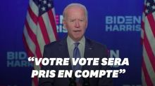 """Biden appelle les Américains à """"se rassembler"""" (mais sans proclamer sa victoire)"""