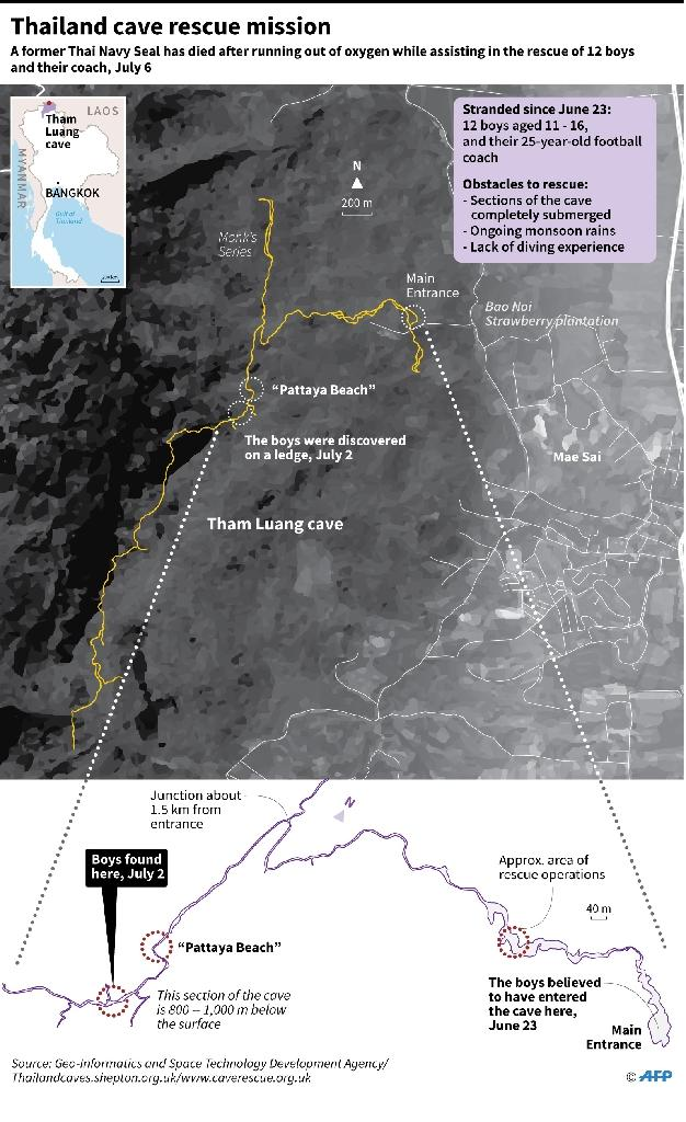 Map showing the cave system in Thailand where 12 school children have been trapped with their football coach since June 23. (AFP Photo/Laurence CHU)